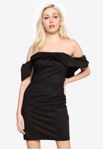 MISSGUIDED black Tall Poplin Ruffle Bardot Mini Dress 313A9AAA31A0F6GS_1