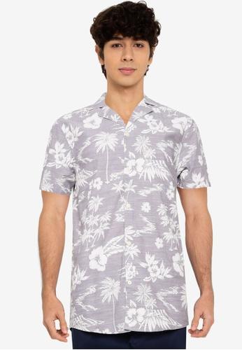 !Solid grey Palm Print Cuban Shirt 5CA60AAD820B0BGS_1