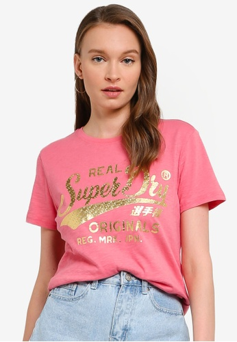 SUPERDRY pink Real Originals Text Infill Entry Tee 0206BAA3FA1EC6GS_1