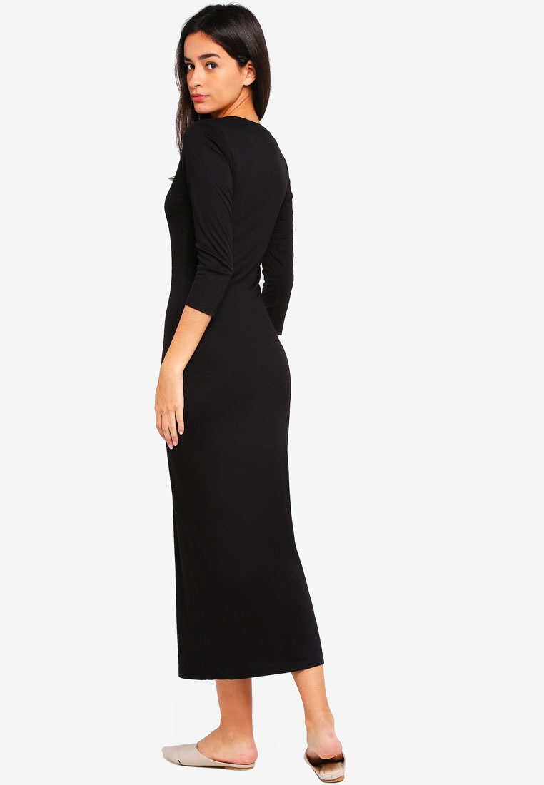 Basic Neck Slit Scoop ZALORA Maxi Black With Dress SSxHwrq7O