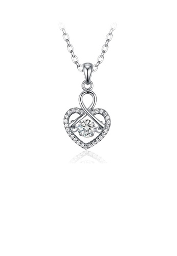Glamorousky white 925 Sterling Silver Valentine's Day Heart Pendant with White Cubic Zircon and Necklace 2F6DAAC0D2B2C4GS_1