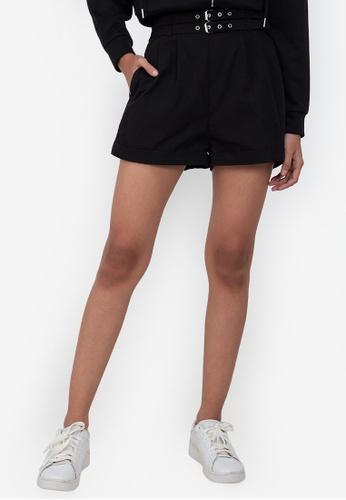 ZALORA BASICS black High Waist Shorts with Double Belt A6F6EAA1E45E1EGS_1