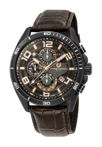 Charles Jourdan brown Charles Jourdan Men CJ1046-1745C Brown Genuine Leather Watch 616FDACF90831CGS_1