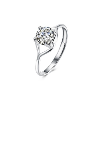 Glamorousky white 925 Sterling Silver Simple Fashion Round Cubic Zircon Adjustable Ring 191A7AC6A29BD5GS_1