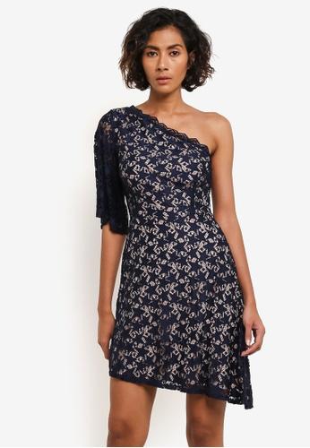 TOPSHOP navy Star Print Lace Mini Dress TO412AA0RMXAMY_1