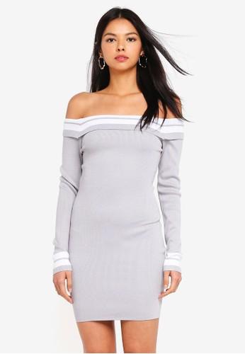 MISSGUIDED grey Bardot Tipped Knitted Mini Dress 061DDAA341F257GS_1