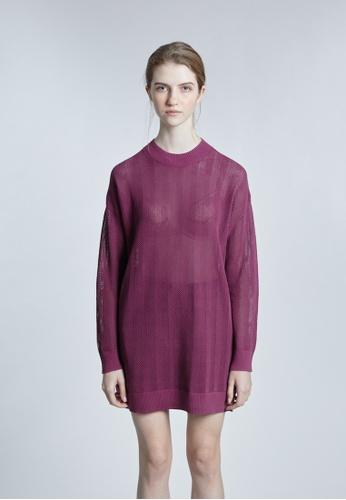 KLAPS red Round Neck Openwork Knitted Dress FD682AA28C02DEGS_1