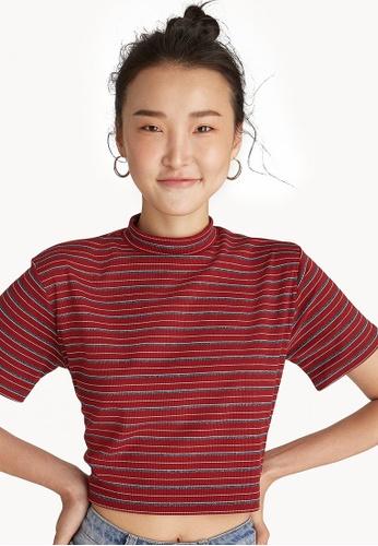 362596979230c5 Buy Pomelo Striped Glitter Mock Neck Crop Top - Burgundy Online ...