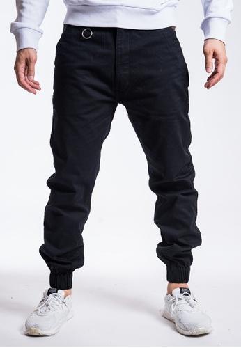 L.I.M.I.T.E 黑色 斜紋布拼迷彩束腳褲 200D7AAE36412AGS_1