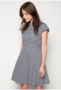 Checkered Fit and Flare Dress with Sleeves