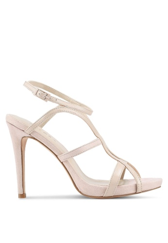 ZALORA 米褐色 Mixed Materials Sandal Heels With Ankle Strap 10F6BSH2A8E255GS_1