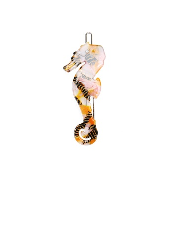 Glamorousky white Simple and Lovely Brown Hippocampus Hair Clip with Cubic Zirconia C6ABFAC8219EC0GS_1