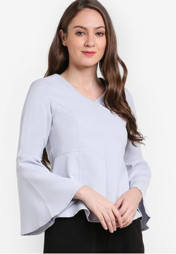 VERCATO grey Ames Bell Sleeve Top VE999AA99BLSMY_1