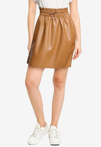 Vero Moda brown Ava High Waisted Short Coated Skirt 4AF3AAAE15C448GS_1
