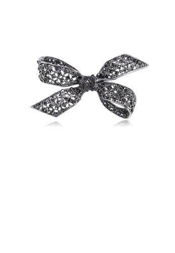 Glamorousky black Simple and Elegant Ribbon Brooch with Black Cubic Zirconia 0F3D8AC4E0A350GS_1