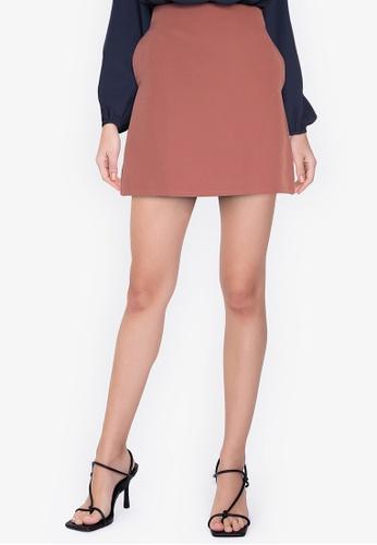 ZALORA WORK pink Zip Detail Skirt 0B504AA89599D1GS_1