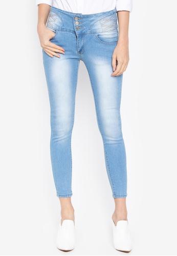 Balaynor blue High Waist Acid Wash Skinny Jeans B42A9AA1388A2EGS_1