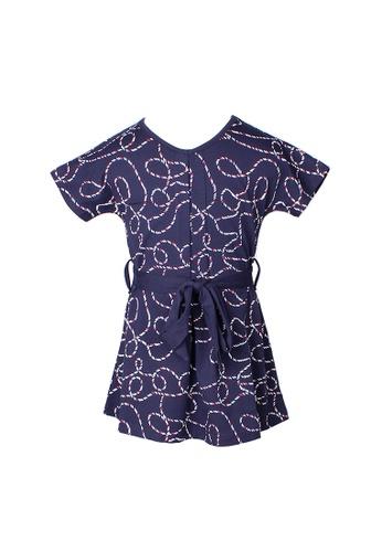 Mini Moley navy Rope Print Girl's Flare Dress 8E08DKACCAC852GS_1