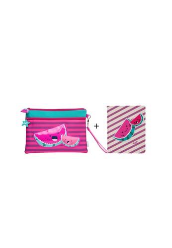 wigglo pink Wigglo Special Bundling Neoprene Pouch Watermelon & Notebook Canvas Watermelon D3398KC4C9F06EGS_1