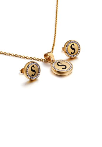 Glamorousky white Fashion and Simple Plated Gold English Alphabet S Geometric Round Cubic Zirconia with 316L Stainless Steel Necklace and Stud Earrings Set C574CAC3C2F720GS_1