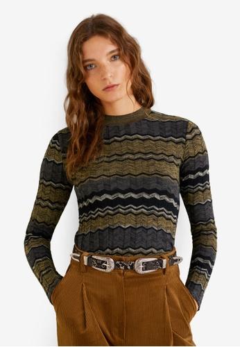 Mango beige Geometric Knit Sweater FC7C6AACBF114EGS_1