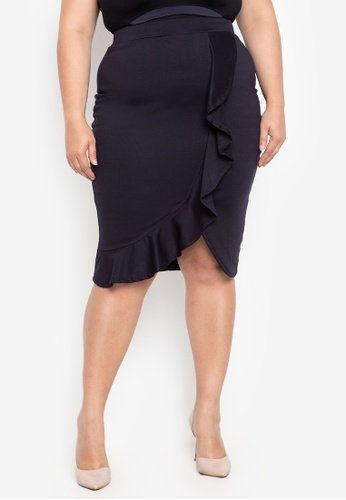 af0e5f41255 Ashley Collection Plus navy Plus Size Overlap Ruffle Skirt  E3110AA837D690GS 1. CLICK TO ZOOM