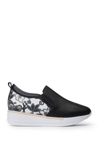 PAZZION black Flowery Sneakers 18036SHD7F1691GS_1