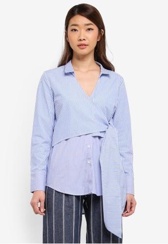Bardot blue and multi Wrap Tie Shirt 08759AA50533EBGS_1