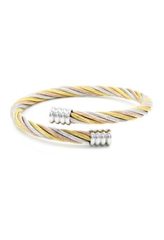 Alix Twisted 3 Toned Cable Wire End Cuff Bracalet