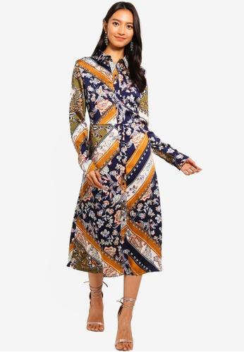 Mela London multi Scarf Print Shirt Dress D8E0EAA41300EBGS_1