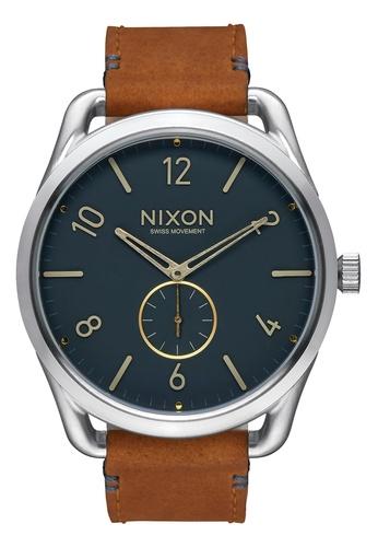 Nixon blue and silver Nixon - C45 Leather Silver/Navy Watch NI855AC97DZYSG_1