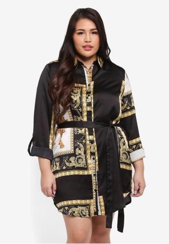 MISSGUIDED black and multi Plus Size Curve Scarf Print Shirt Dress 610ACAA2DE295BGS_1