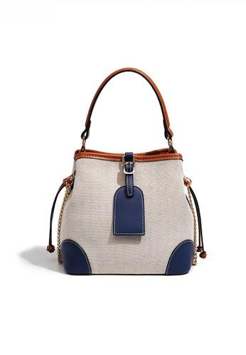 Twenty Eight Shoes blue Chic Canvas Patch Faux Leather Color Contrast Bucket Bag JW FB-6785 7A319ACDBE848BGS_1