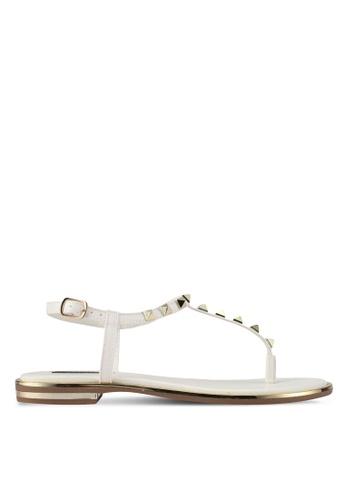 ZALORA white Studded T Strap Flat Sandals F5659SH523F629GS_1