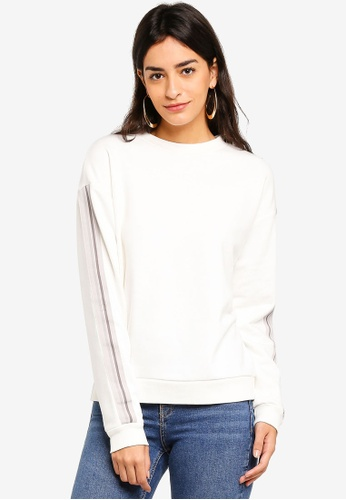 TOPSHOP 白色 Taped Sleeve Sweat 7FCBFAAE98A292GS_1