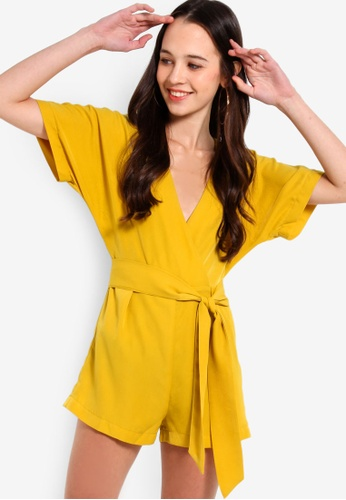 c3d50a28ae6d Something Borrowed yellow Waist Tie Wrap Playsuit 9F05DAA3A501A1GS 1