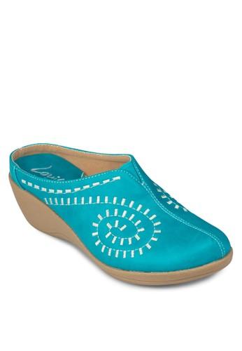 雕花包頭休閒厚底拖鞋, 女鞋, esprit hk楔形鞋