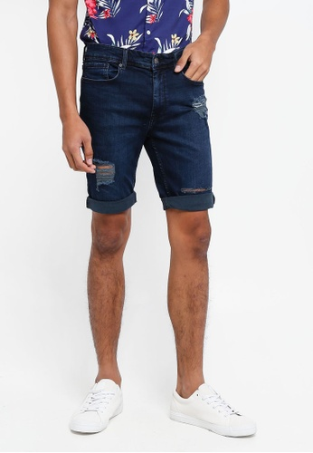 Burton Menswear London navy Indigo Overdye Rip And Repair Denim Shorts 16263AA2F6A7D7GS_1