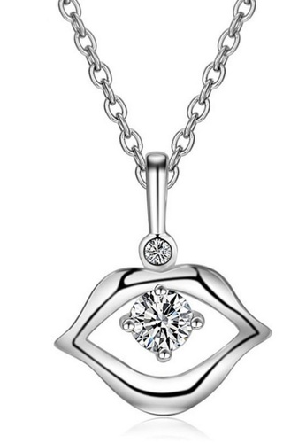 LYCKA silver LFF1235-LYCKA-S925 Silver White Zircon Lovely Kiss Necklace -Silver LY529AC0HACISG_1