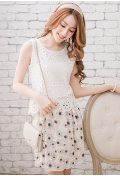 [IMPORTED] Sunflower Romance Embroidered Dress - Apricot