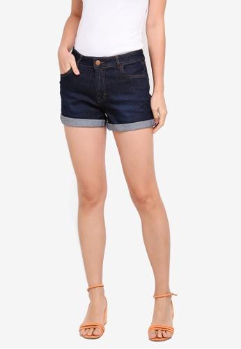 Dorothy Perkins blue Petite Indigo Wash Shorts A8D03AA4A8E2BDGS_1