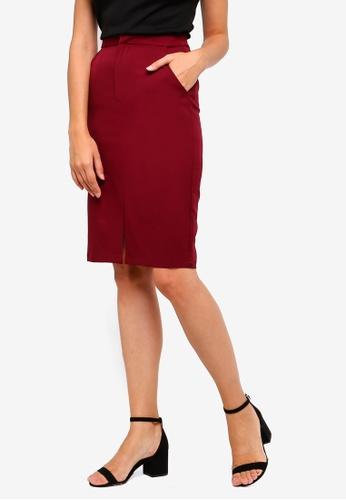 ZALORA red Pencil Skirt With Slit FAA0DAAA78B844GS_1