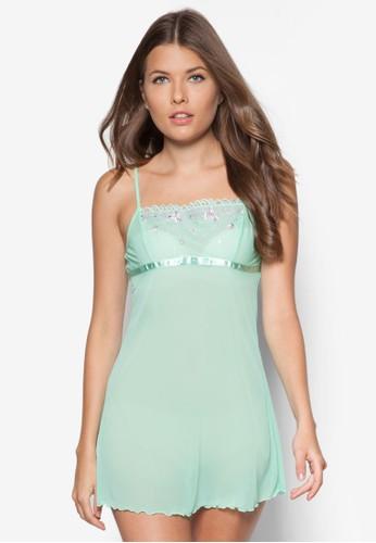 薄紗繡花細肩帶睡裙, zalora 評價服飾, 睡衣
