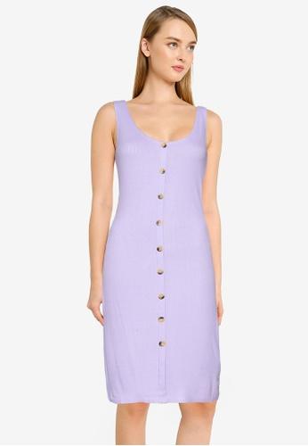 Brave Soul purple Button Through Midi Dress D3178AA177218DGS_1