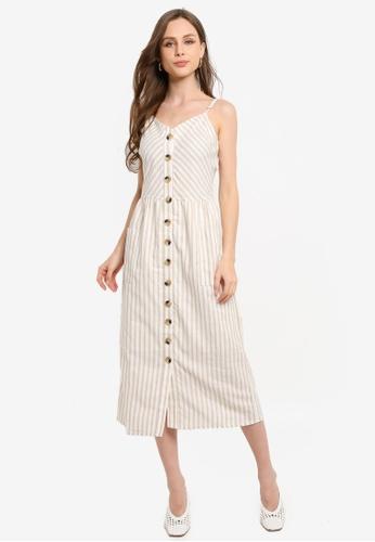 LC Waikiki beige Button Down Striped Cotton Dress FF1CDAA6B19489GS_1