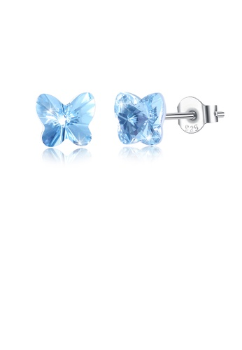 Glamorousky white 925 Sterling Silve Elegant Noble Romantic Sweet Fantasy Blue Butterfly Earrings with Austrian Element Crystal 4F6C5AC80BCA02GS_1