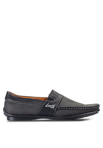 Louis Cuppers grey Contrast Stitch Loafers LO977SH48RCLMY_1