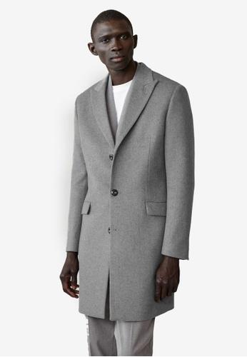 Mango Man grey Recycled Wool Tailored Coat 07A3CAA0081D0FGS_1