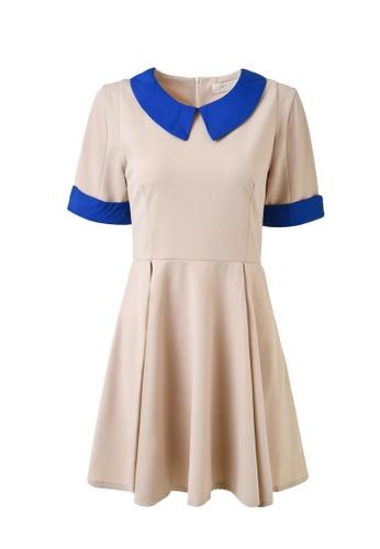 hk-ehunter blue and beige Lapel Short Sleeves Dress D92D4AA2A5D4D3GS_1