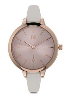 Gold Tone Grey Strap Watch